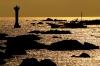 夕映えの海