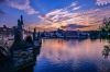 カレル橋からの眺め プラハ城の夕景